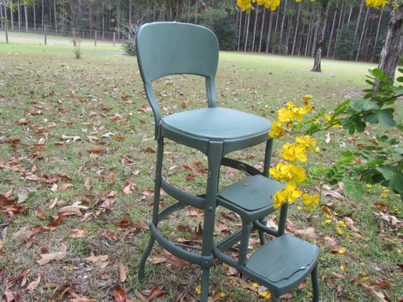 Vintage Cosco Metal Step Stool Step Chair Stool Step Ladder