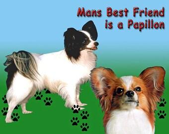 Man's Best Friend is a Papillon Dog Fridge Magnet 7cm by 4.5cm,
