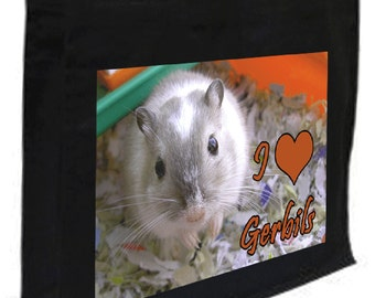 I Love Gerbils Cotton Shopping Bag with gusset and long handles, 3 colour options