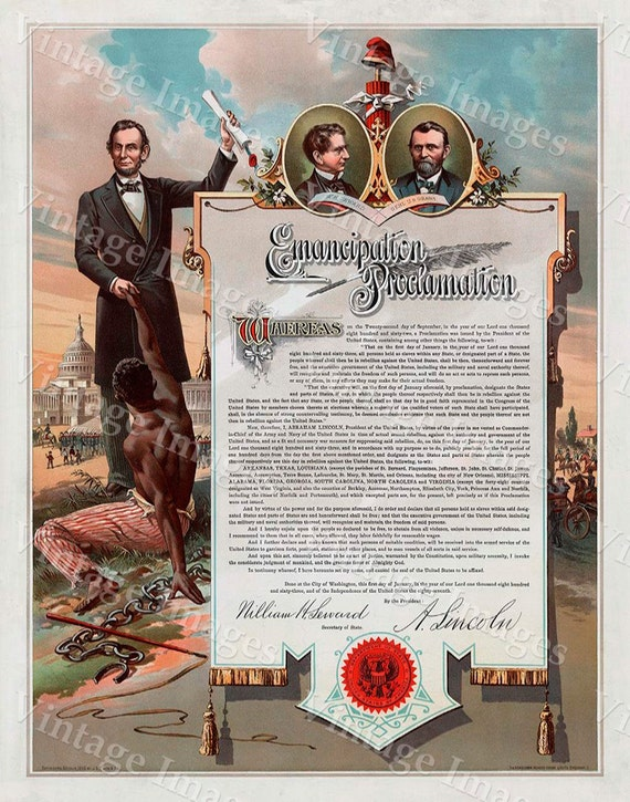 Color Abraham Lincoln  Emancipation Proclamation Early 1860's Giant Restoration Hardware Fine art Print up to 33 x 42 wall art home decor