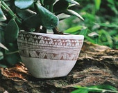 Hand Carved Geometric Pattern Table Planter / Succulent, Cactus, Herb, or Air Plant Pot / Decorative Small Planter / Stoneware Pot