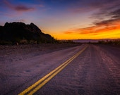 Historic Route 66 at sunset, in Oatman, Arizona - Desert Landscape Nature Photography Fine Art Print or Wrapped Canvas