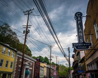 Shops along Main Street in Ellicott City, Maryland - Urban Photography Fine Art Print or Wrapped Canvas
