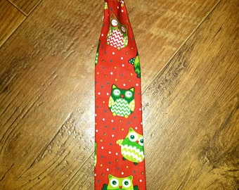 SALE Christmas Green and Red Owl fun boys tie