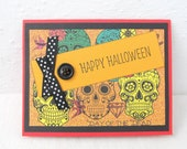 Halloween Card - Day of the Dead - Vibrant Colors - Blank Inside - Happy Halloween - Black Accents - Skeleton Faces - Fun Halloween