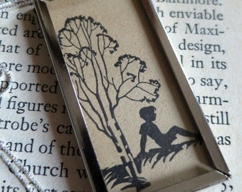 Boy Silhouette and Two-Sided Book Page of Poetry Framed Pendant