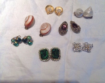 Vintage Clip Earrings 7 Assorted Pairs