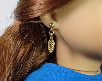 "Gold Feather Earring Dangles for 18"" Play Dolls such as American Girl®"