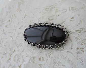 Black glass brooch 1950's