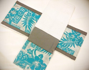 Hawaiian print baby burp cloths, cloth diaper, blue and grey