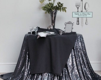 Charcoal Pewter Sequin Table Cloth