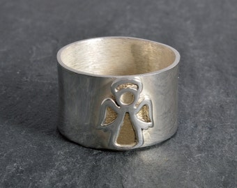 Angel ring sterling silver angel guardian angel ring handmade choose your size custom made to order 925