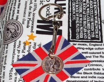 1983 British Half Pence Coin Keyring Key Chain Fob Queen Elizabeth II