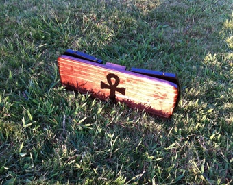 Folding Hand Made Pi Meditation Bench with Hand Painted ANKH