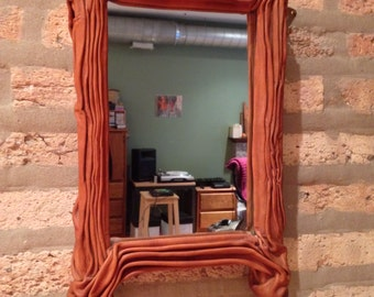 Chrome Tanned Folded Leather Mirror
