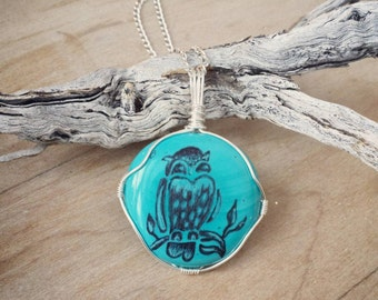 Artisan owl hand engraved blue turquiose glass stone wirewrapped silver necklace. Gift for her, wife, mother, daughter, girlfriend, custom