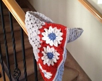 Beautiful Neck Warmer Cowl in Gray with White Flowers and Cheerful Orange