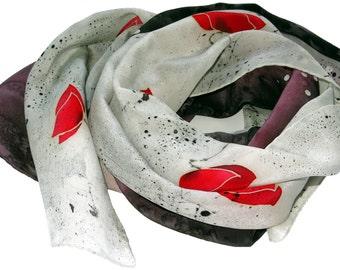 Poppies Silk scarf Hand painted silk scarf Red poppy scarf on black white Floral silk scarf poppy. Silk neck scarves.  Lightweight scarf