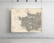 """28"""" x 18"""" - Vintage Maps, Large Print of Map of Vancouver"""