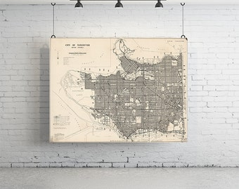 "28"" x 18"" Map of Vancouver Print - Large, Vintage Maps"