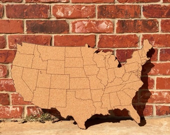 Corkboard Map Etsy - Us travel map on cork board