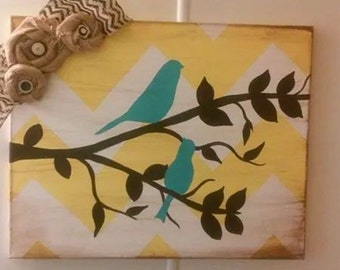 Canvas Bird Wall Decor, hand painted