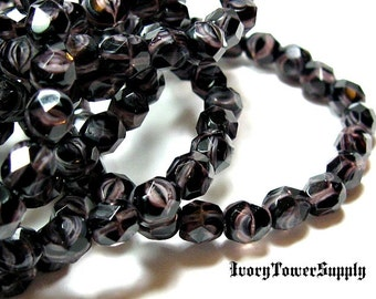 25 6mm Czech Glass Beads, Faceted Beads, Round Beads, Purple Beads, Black Beads