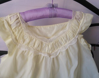 Lemon French Lace Nightgown 1950s French Vintage Retro