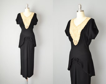 Vintage 30s Dress // 1930s Black Crepe and Lace Gown // Small