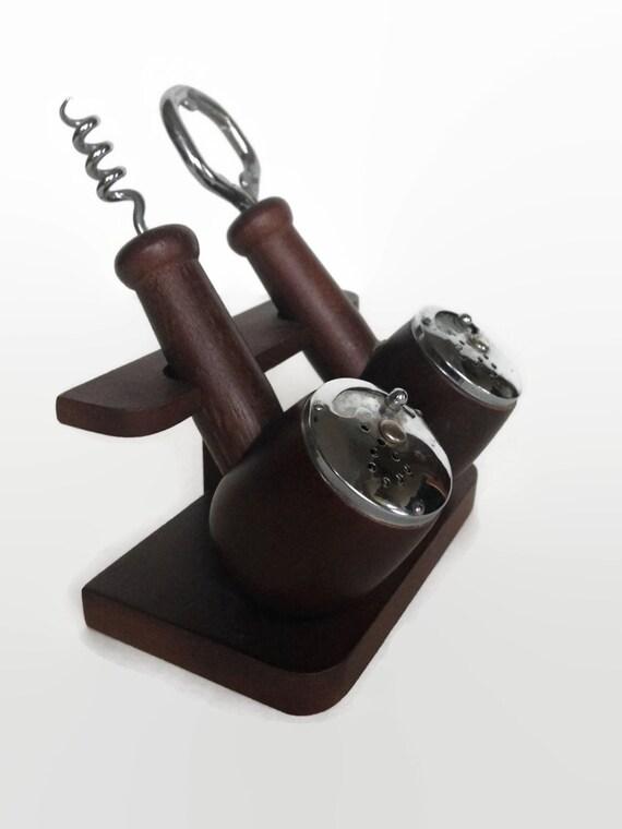 Pipe shaped salt and pepper shakers cork screw bottle opener bar tools