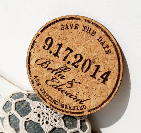Rustic wedding save the dates cork save the date cards like this item junglespirit Gallery
