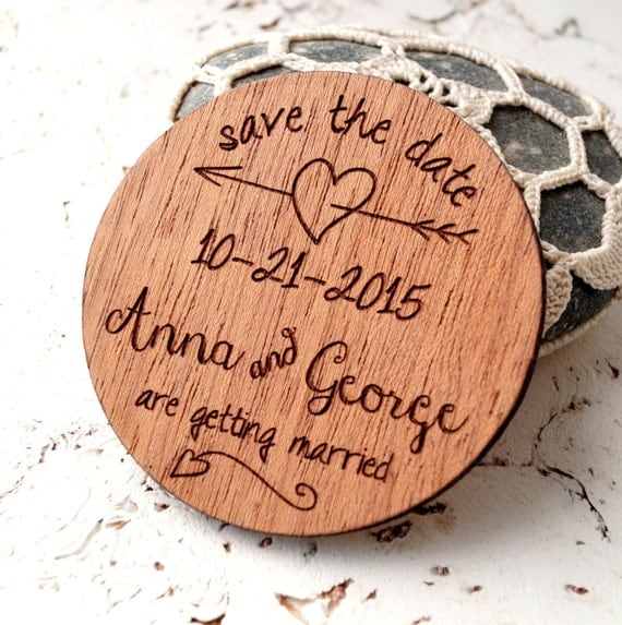 homepage > SWEET PEA DESIGN > LASER CUT WOODEN SAVE THE DATE MAGNET