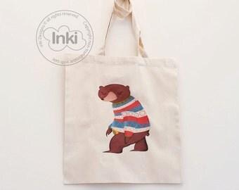 Cotton Tote Bag Mr Honey Bear Illustration