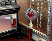 Sanguine Heirloom - chandelier glass, chinese crystal, and silver steampunk necklace