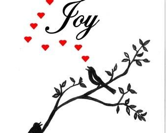 Inspirational poster, Vancouver Etsy Poster, Handmade Poster, Motivational Poster, Love Brings Joy Poster, Valentines Poster