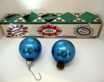 Set of 5 Blue Glass Christmas Ornaments Made by Franke with Original Box