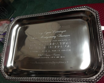 tray, engraved tray, engraved wedding gift,  engraved invitation, custom tray, silver tray, wedding gift