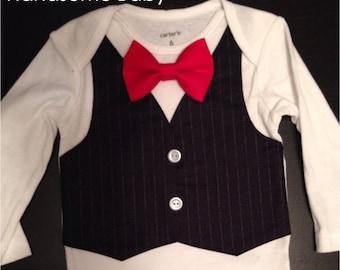 Black Pinstripe Vest Bowtie Onesie