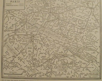 Paris Map,Paris City Map,Paris France Map,City Map in Europe,Vintage City Map,Places on the World Map,Atlas Wall Art City Map,1936 8x9 VS18