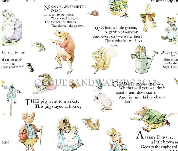 Wallpaper nursery rhymes wallpaper and decals beatrix potter for Beatrix potter mural wallpaper