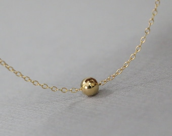 Gold Filled Ball Bead on 14k Gold Filled Necklace Chain