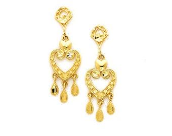 14k gold chandelier heart earrings.