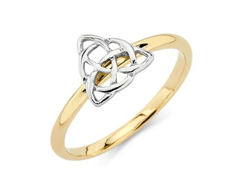 14K Two-Tone Gold Irish Love Knot Ring, Irish Love Knot Ring, Irish Jewelry, Love Knot Jewelry, Love Jewelry, Knot Ring, Gold, Ring, Irish