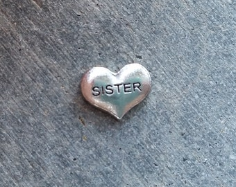Floating Charm For Glass Memory Lockets- Sister Heart