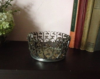 CAN ART Curled Aluminum Can ART, artsy retro bowl, stand,cool art from the 60's and 70's, hand made