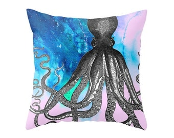 Nautical Giant Octopus Print - Accent Pillow Cover - Throw Pillows - Decorative Pillows