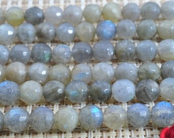62 pcs of Labradorite faceted round beads in 5mm