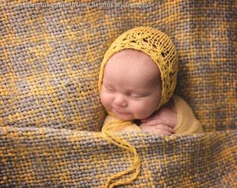 NEWBORN knit dainty bonnet
