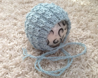 Newborn ,0-3,3-6,6-12 month and toddler size round back purl knit bonnet