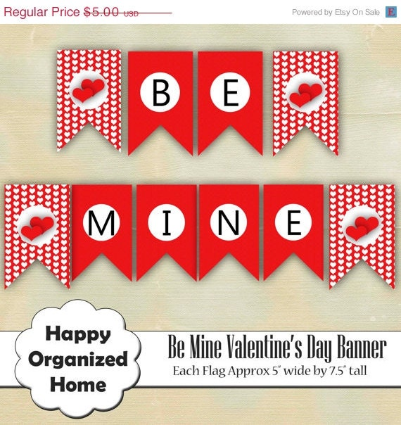 60% OFF 2 DAY SALE Diy Be Mine Banner Flag, Printable Valentine's Day Banner, Red Hearts, Printable Banner, Instant Download Party Printable